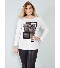 shirt sara lindholm wit::zwart::bruin