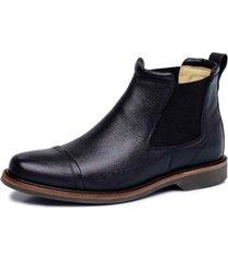 bota botina cano curto em couro top franca shoes preto