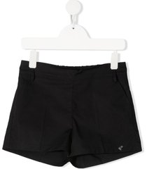 miss blumarine logo-studded cotton shorts - black