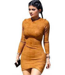kylie jenner suede women long sleeve camel sexy slim mini bodycon dress