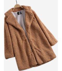 elegante cappotto in pile con intaglio in fustagno