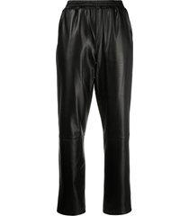 arma elastic waist straight trousers - black