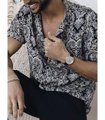 hombres summer bohemian tribal all over print playa holiday camisa