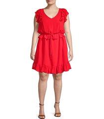 emma & michele women's plus ruffled dress - bright coral red - size 3x (22-24)