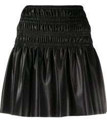 self-portrait faux leather skirt - black