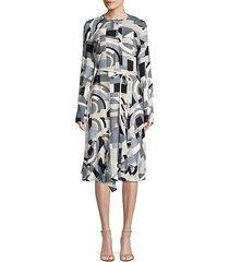 paris geometric-print belted a-line dress