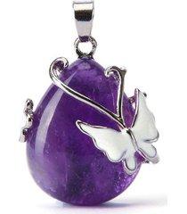 collane del pendente di ametista di chakra di guarigione di catena di cristallo naturale del pendente della farfalla per le donne
