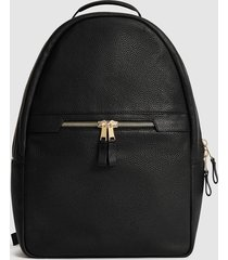 reiss huntington - textured leather backpack in black, mens