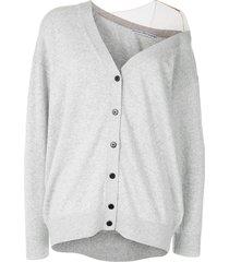 alexander wang sheer panel cardigan - grey