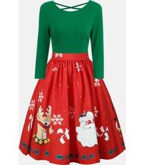 christmas plus size criss cross print dress