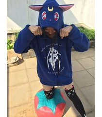 2015 new cute sailor moon luna cats blue sweater hoodies cosplay casual women