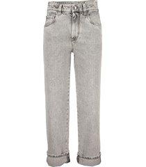 brunello cucinelli comfort cotton denim skater trousers
