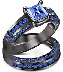 14k black gold finish princess shape blue sapphire bridal engagement ring set