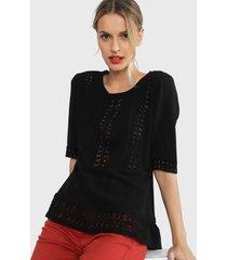 blusón tentation crochet negro - calce holgado