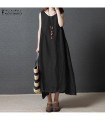 zanzea vestido sin mangas de verano sin mangas para mujer vestido a media pierna drapeado con dobladillo de ganchillo sundress -negro