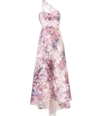 marchesa notte floral-print one-shoulder gown - pink