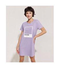 camisola feminina pantone manga curta lilás