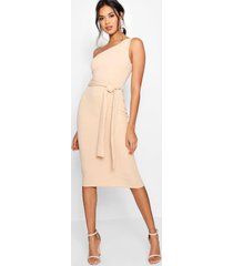 one shoulder belted midi dress, stone