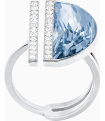 anello glow, azzurro, placcatura rodio