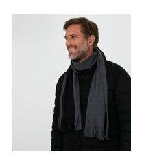 cachecol acrilico bicolor com franja | viko | multicores | u