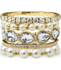 statement accessories stone and imitation pearl collection bracelet set
