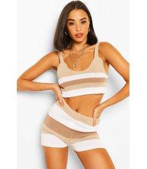tonal stripe knitted crop top, stone