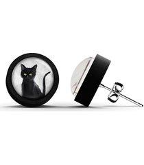 kolczyki drewniane - czarny kot - czarne