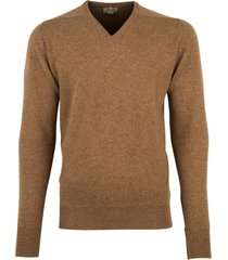 william lockie pullover cognac lamswol v-hals