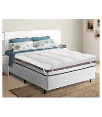 pillow top p/ cama queen trevalla confort 200 fios elástico branco
