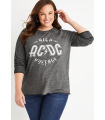 maurices plus size womens gray acdc graphic sweatshirt