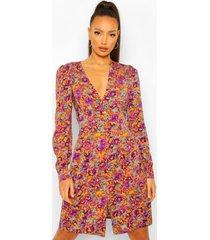 tall bloemenprint mini jurk met knopen, apricot