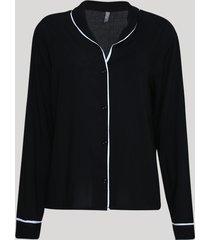 camisa de pijama feminina com vivo contrastante manga longa preta