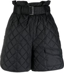 ganni quilted high-waisted shorts - black