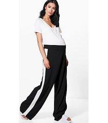 maternity liza side stripe wide leg trouser