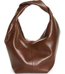 valentino garavani roman stud leather hobo bag - brown