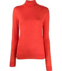 jil sander turtleneck cashmere knit top - vermelho