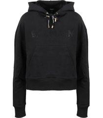 balmain cropped strass logo hoodie