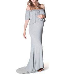 women's bun maternity simply stunning off the shoulder maternity maxi dress