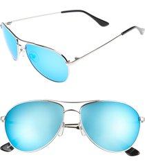 women's brightside orville 58mm mirrored aviator sunglasses - silver/ blue mirror