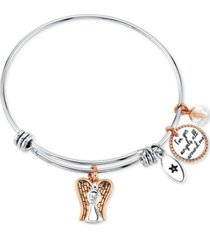 "unwritten ""i've got angels all around me"" angel charm bangle bracelet in stainless steel & rose gold-tone with silver plated charms"