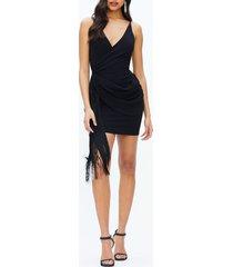 dress the population alida crepe fringe dress, size medium in black at nordstrom