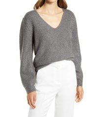 women's halogen balloon sleeve sweater, size medium - grey