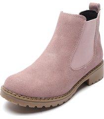 botín cuero rosa ivo