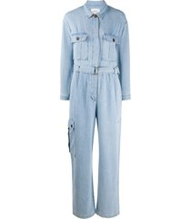 ba & sh idil belted denim jumpsuit - blue