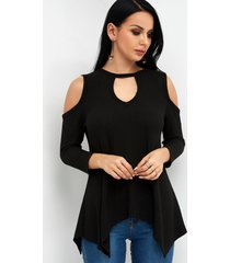 black cut out crew neck 3/4 length sleeves t-shirt