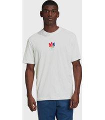 camiseta adidas originals 3d trefoil branca