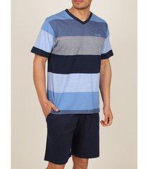 pyjama's / nachthemden admas for men innerwear pyjamabroek t-shirt stay stripes blauw admas