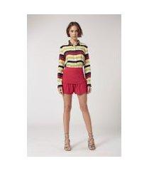 shorts de crepe pala drapeada rosa batom - 40