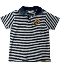 camiseta polo a rayas en índigo y con bordado