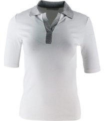 fabiana filippi short sleeve polo t-shirt in ribbed cotton with lurex collar